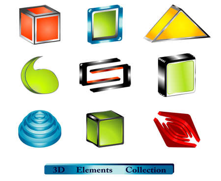 tridimensional: various 3d elements, glossy cubes and abstract shapes