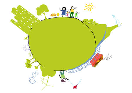 green little earth with people and landscape Vector
