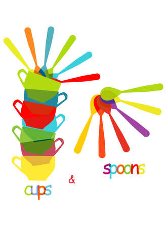 drink tools: cups and spoons, cute colorful background