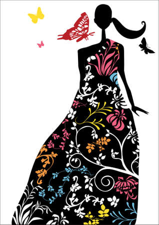 vector - an elegant woman with a long dress