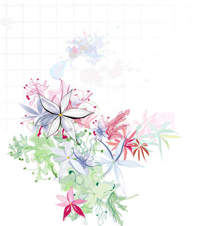 beautiful floral watercolor composition