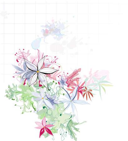 beautiful red hibiscus flower: bella composici�n de flores de acuarela Vectores