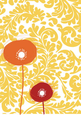 beautiful flower celebration card with baroque wallpaper background