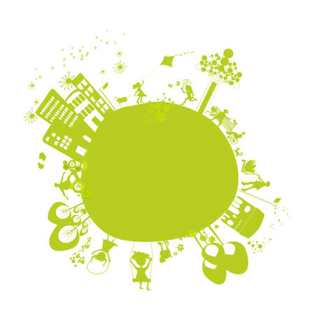 cute green little earth Vector