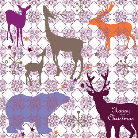 vector - christmas card with winter animals