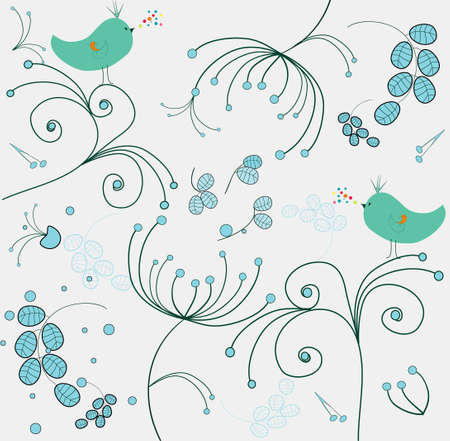 song bird: whimsical floral wallpaper