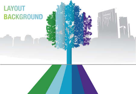 vector - a rainbow tree in front of a city landscape Illustration