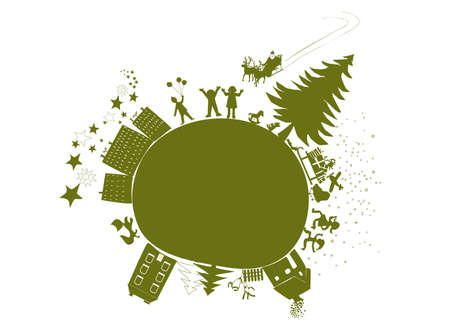 christmas time on green little planet earth, children are happy, Santa is coming Illustration