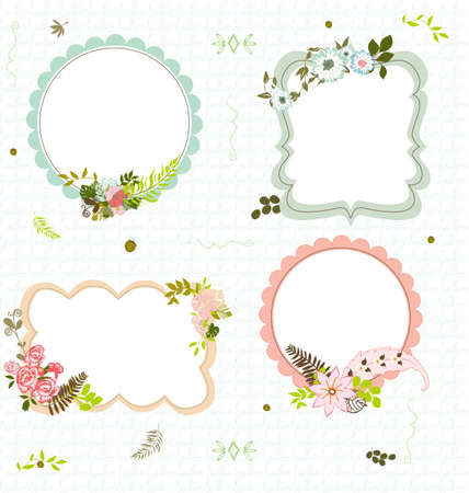 4 flourish frames on a seamless pattern background Illustration