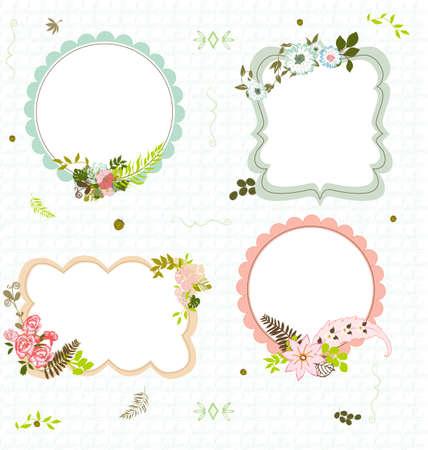 4 flourish frames on a seamless pattern background Illustration