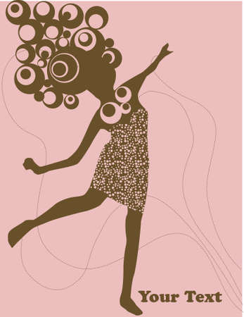vector - woman dancing with crasy hair