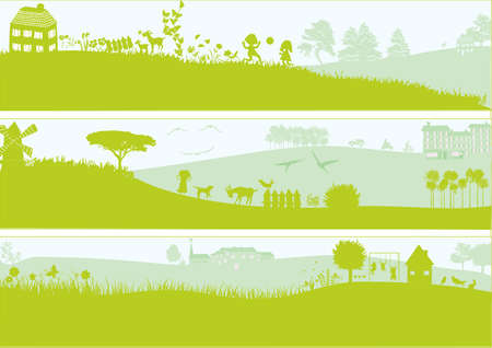 3 green landscape Vector