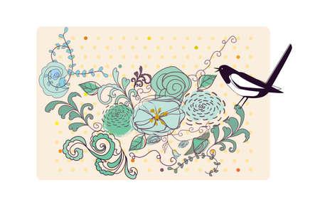 urraca: el p�jaro y las flores