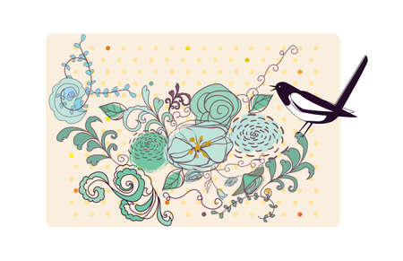 the bird and the flowers Vector