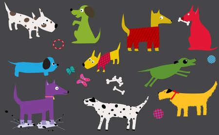 dalmatier: leuke honden tekens  Stock Illustratie