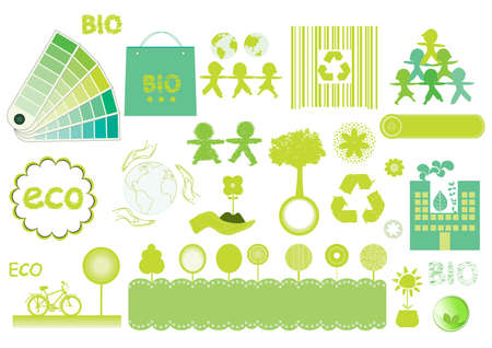 bag of soil: green eco and bio elements Stock Photo