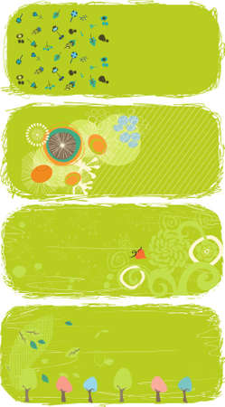 cute green banners Vector