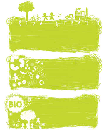 green banners with eco frindly elements, copy-space Vector