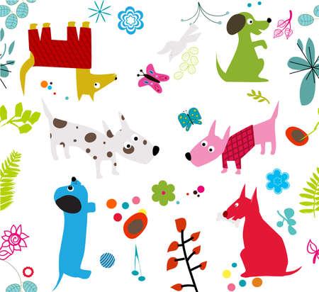 cute dogs wallpaper -seamless-