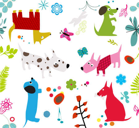 cute dogs wallpaper -seamless- Vector