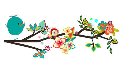 whimsical branch with bird and flowers Illustration