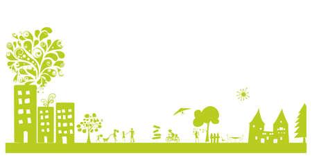 현대 녹색 풍경 일러스트