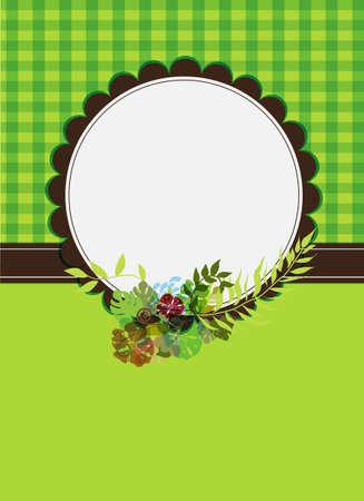 checkered label: cute blank floral frame over green tile background Illustration