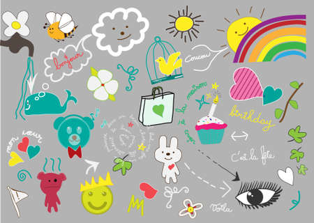 cute little hand drawn elements Vector