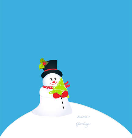 whimsical snowman holding a christmas tree on a hill of snow Vector