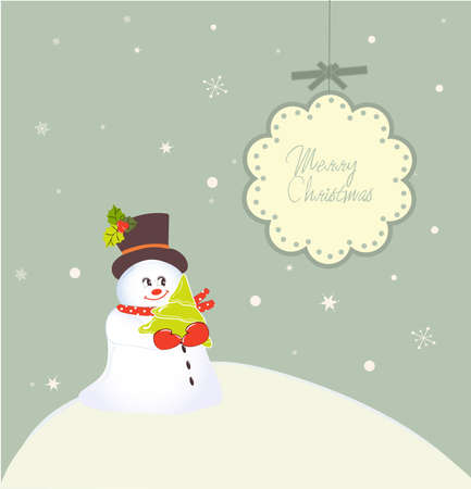 whimsical christmas card with snowman and cute banner with copy space Vector