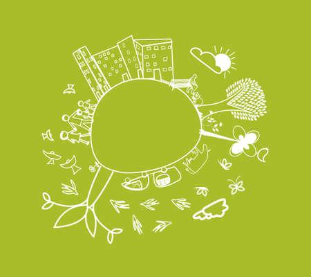 cute green little planet earth