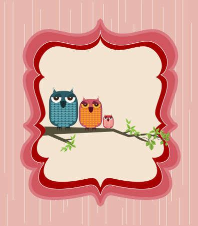 owl cute: cute owl family sitting on a branch