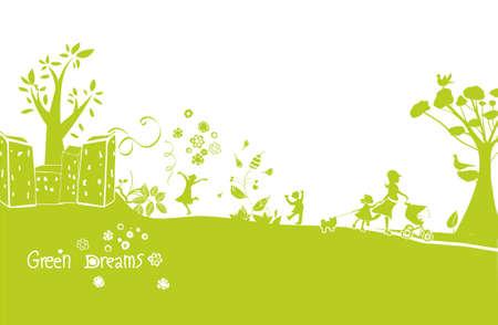 green dreams, a happy green landscape background