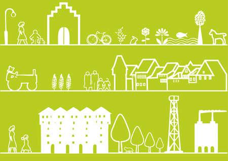 3 green landscape or cityscape Vector