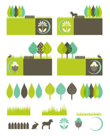 green eco: green eco banners with isolated elements to compose your own design
