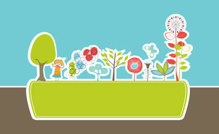 eco frame with stylized flowers and little girl Vector