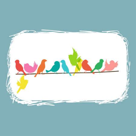golondrina: coloridos p�jaros en una l�nea