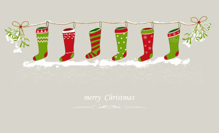Christmas stockings hanging on a festive line Illustration