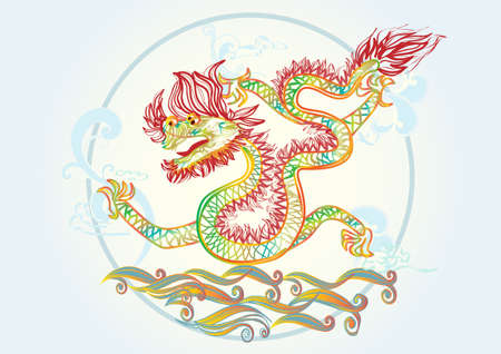 Chinese and Vietnamese new year 20112, creative  water dragon symbol Vector