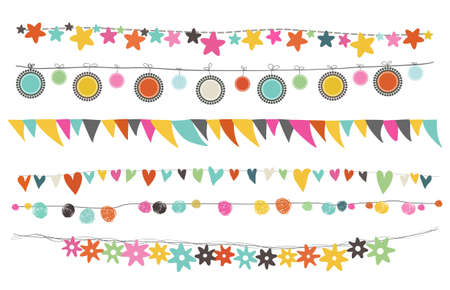 whimsical: colorful buntings and garland for celebration or srap booking