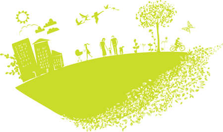 lovely illustration featuring happy people on green little planet earth