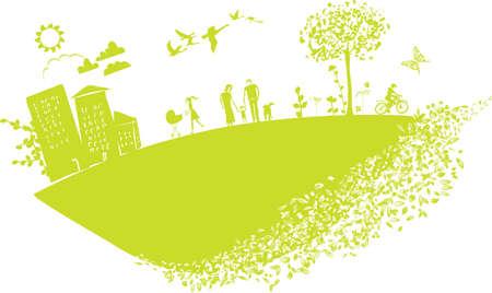 schöne Illustration, die glückliche Menschen auf grünen kleinen Planeten Erde