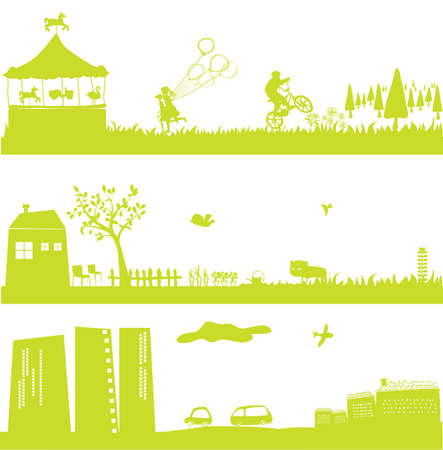 cute green landscapes and cityscape Vector