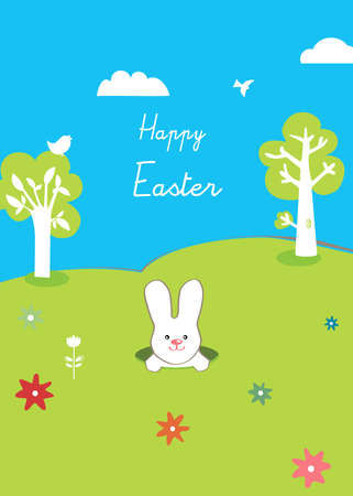 happy easter, rabbit and trees, cute Vector