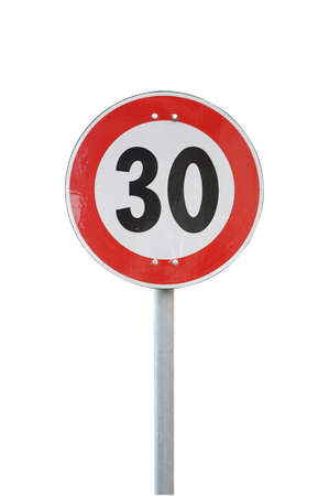 Speed limit road sign isolated photo