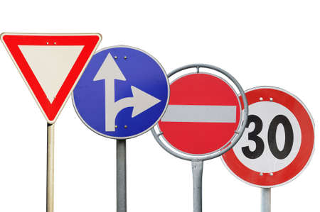 city limit: Many different road signs isolated Stock Photo