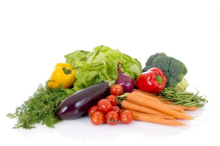 nourish: Fresh bio vegetables, white background, reflective surface