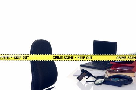 keepout: CSI office crime scene, weapon in foreground, white background, studio shot. Stock Photo