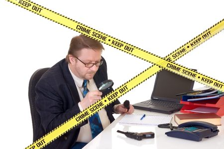 background csi: CSI investigator researching office crime scene, taking fingerprints, weapon in foreground, white background, studio shot. Stock Photo