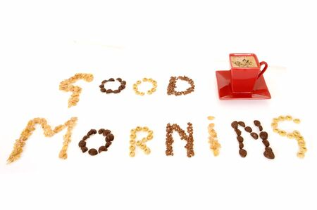 The words good morning formed with cereal on white background Stock Photo - 3108903